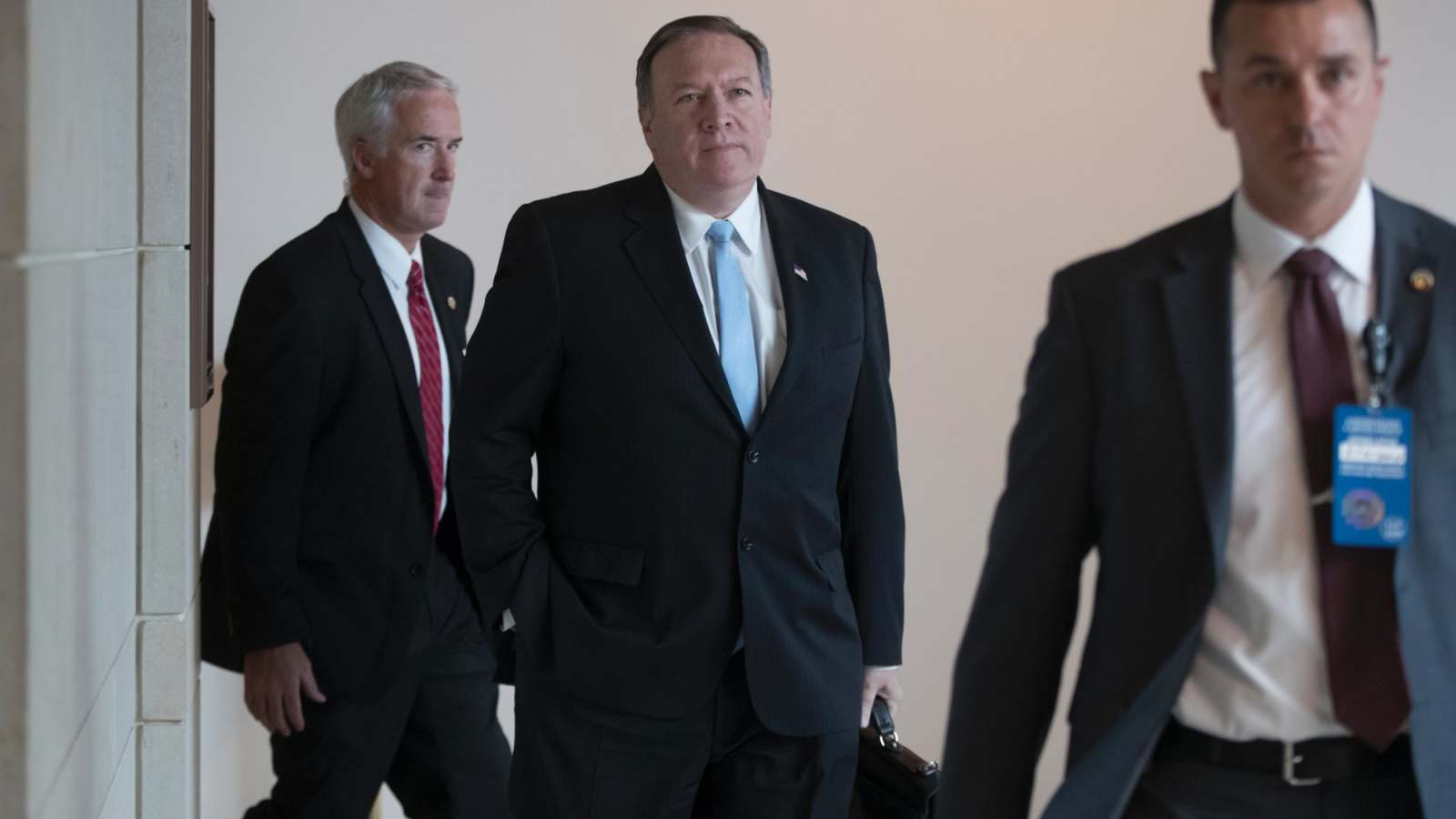 CIA Director Mike Pompeo, centre, has criticised any nuclear deal with Iran.