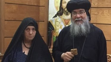 Soad Thabet, left, in a photo posted by Bishop Macarious, right, on his Facebook page.