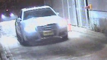 The Audi used in fatal shooting of security guard Gary Allibon in 2010  exits M5 at Henry Lawson Drive, Milperra with a black Mercedes in convoy.