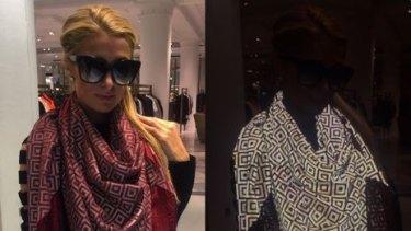 D-lister Paris Hilton wearing the ISHU scarf.