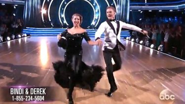 Bindi Irwin and Derek Hough perform on <i>Dancing With The Stars</i>.