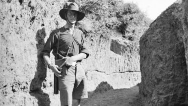 C. E. W. Bean at Gallipoli, July 26, 1915. Photograph by The Age correspondent, Phillip Schuler.