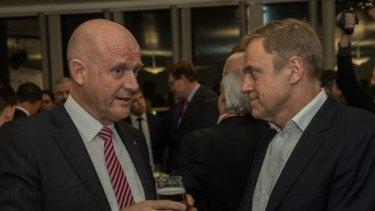 Senator David Leyonhjelm talking to Foxtel chief executive Peter Tonagh at the media summit.