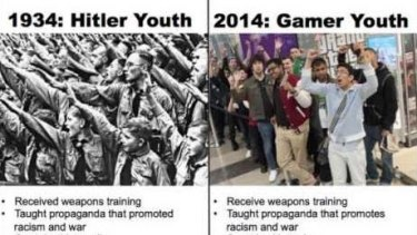 A meme comparing the Hitler Youth to modern gamers and mocking criticism from feminists, created by gamers who said they were being compared to the Junior SS.