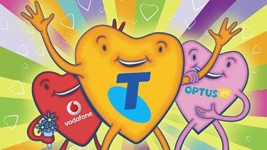 Telstra, Vodafone and Optus. <i>Illustration: Simon Bosch</i>