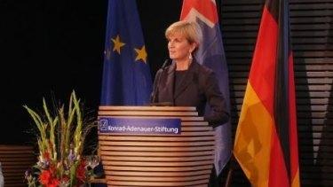 Julie Bishop speaking at the Konrad Adenauer Foundation in Berlin.