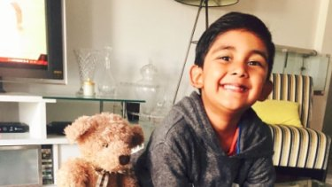 Sufi, 5, fell on two concrete stairs and hit his head on a nearby pole.