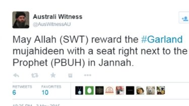 A tweet from Australi Witness after the Texas attack.The image is of Abu Bakr al Baghdadi.