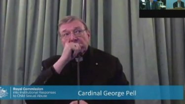 Cardinal George Pell gives evidence to the royal commission via video link from Rome last month.