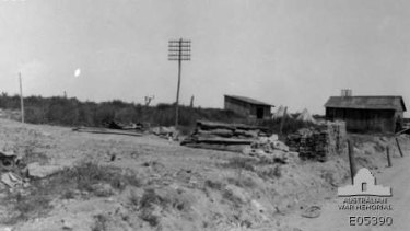 Temporary dwellings and tents on the site of the destroyed village of Pozieres.