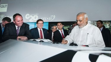 Indian Prime Minister Narendra Modi at QUT with federal Agriculture Minister Barnaby Joyce (far left).