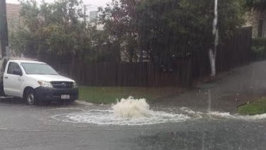 An overflowing main at Petrie.