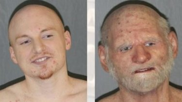 "31-year-old Shaun ""Shizz"" Miller (left) and in the mask he was arrested in (right)."