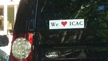 Hearts: Bumper stickers in support of ICAC are a sign of its popularity with the public.