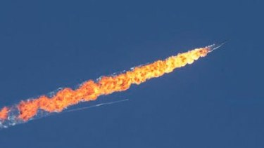 Footage reported to be that of the downed jet.