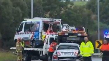 This ambulance was hit on the Monash Freeway.