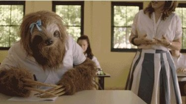 """""""When you realise you should have hit the books and not the bong"""": one of the sloths from the Stoner Sloth campaign."""