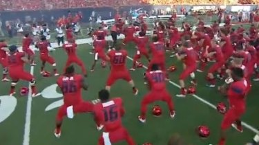 A sight to see: The Arizona Wildcats perform a haka.