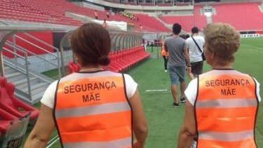 On patrol: Sport Club do Recife employed fans' mums to stop violence in the stands.