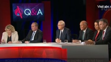 Monday night's panel: Farmer Fiona Simson, Agriculture Minister Barnaby Joyce, host Tony Jones, independent candidate Tony Windsor, small businesswoman Robbie Sefton and Labor's agriculture spokesman Joel Fitzgibbon.