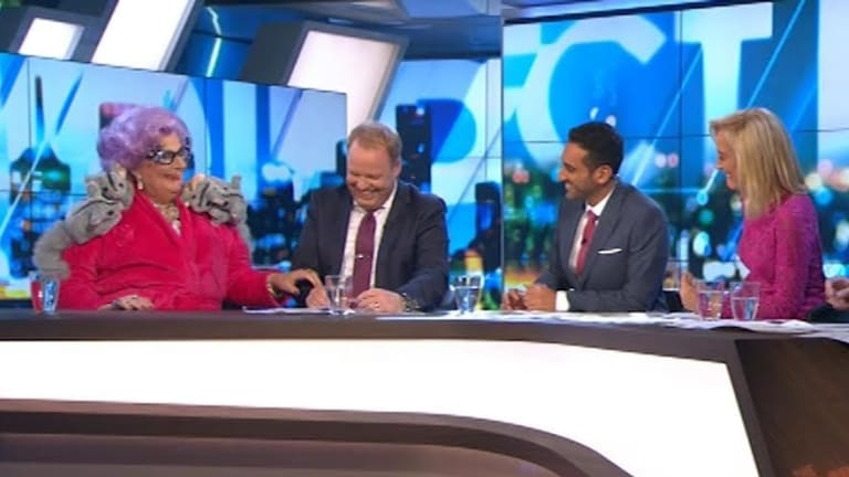 Hello possums ... Dame Edna roasts 'pinko' Waleed Aly on The Project