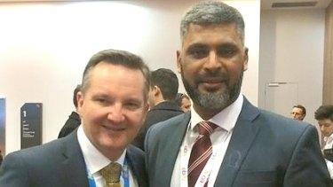 Imran Syed with Labor's finance spokesman Chris Bowen.