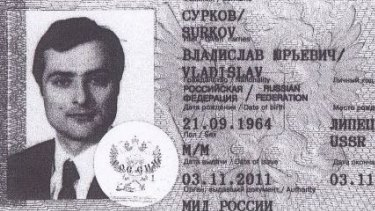 Image of passport of Putin-adviser Vladislav Surkov released in hack by Ukrainian group Cyber Junta.