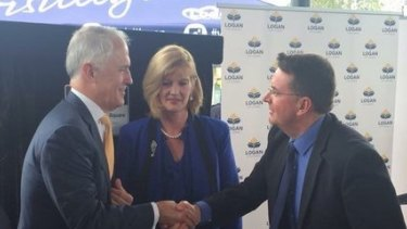 Prime Minister Malcolm Turnbull in Beenleigh, meeting with Cr Luke Smith and outgoing Logan Mayor Pam Parker.