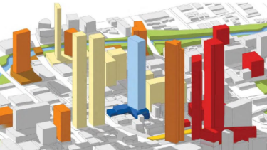 The Greenway development, in blue, and some of the other towers planned for the Parramatta CBD.