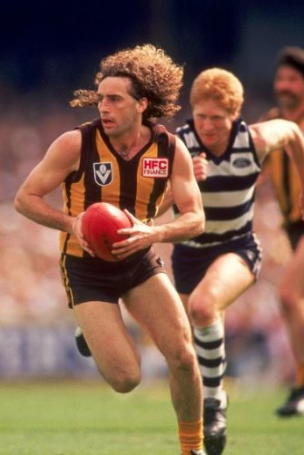 Hawthorn's John Platten in the 1989 grand final against Geelong. After he was hit late in the first quarter, he couldn't remember any of the play.