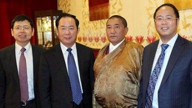 Huang Xiangmo (first on right) with Zhu Weiqun and Tudeng Kezhu.