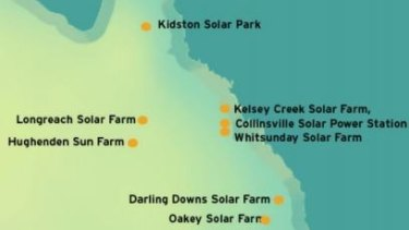 Proposed sites for Queensland's solar farms.