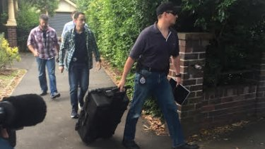 The scene outside Craig Steven Wright's Sydney home in December 2015 after a police raid.