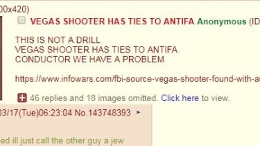 The 4Chan poster, citing Alex Jones Infowar, claims without basis, that the Las Vegas shooter was involved in a Far Left organisation.