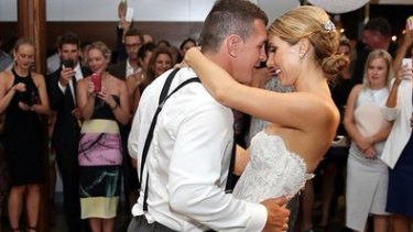 A photo posted on Instagram of Greg Bird dancing with his bride Becky Rochow.
