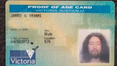 Jared Hyams' proof of age card.
