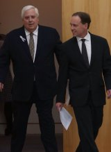Clive Palmer and Environment Minister Greg Hunt.
