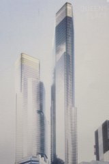 An artist's impression of the soaring 79 level twin towers planned for 350 Queen Street, next to the diminutive Welsh Church.