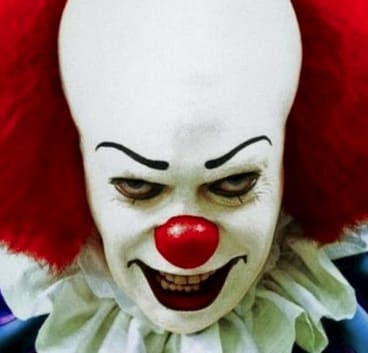 Pennywise the Clown, from the  Stephen King novel <em>It</em>.
