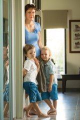 Embryo donor Natalie Parker with her sons Angus, 5, and Hugo, 3, in their Darwin home.