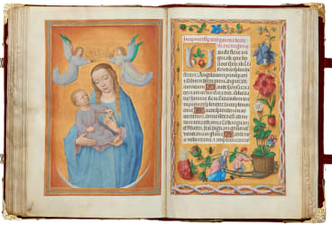 """Virgin and Child on a crescent moon"" from the Rothschild Prayerbook."