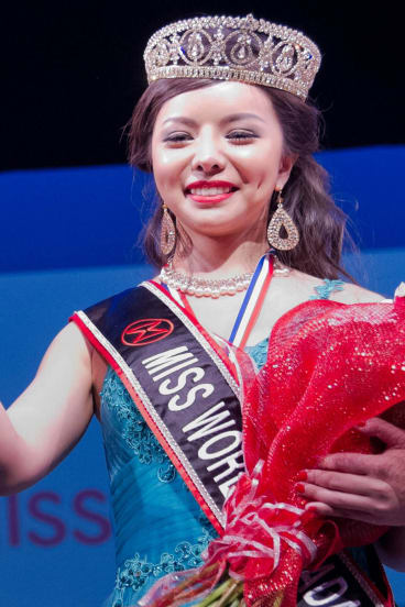 Anastasia Lin is crowned Miss World Canada in May this year.