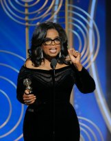 """Oprah Winfrey's barnstorming speech at the 2018 Golden Globes featured a signal to marauding males: """"Their time is up."""""""