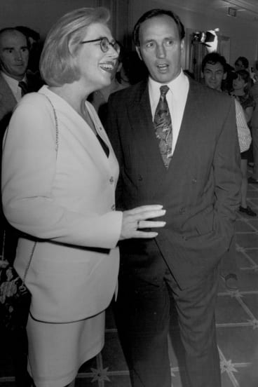 Anne Summers with Paul Keating at the launch of her book <I>Damned Whores And God's Police</i> in 1994.