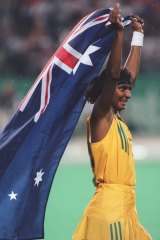 Nova Peris after winning Olympic gold as part of the women's hockey team in 1996.