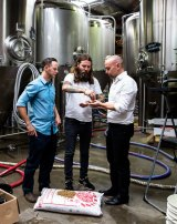 "Solar-powered beer: Solar energy specialist Jake Steele, Young Henrys co-owner Oscar McMahon and Tom Nockolds from Pingala have the answer to ""renewable"" beer."