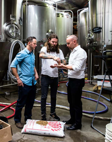 """Solar-powered beer: Solar energy specialist Jake Steele, Young Henrys co-owner Oscar McMahon and Tom Nockolds from Pingala have the answer to """"renewable"""" beer."""