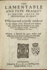 "Front page of a 1633 edition of Arden of Faversham, a play about ""unsatiable desire of filthy lust""."