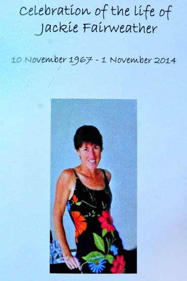 The order of service from Jackie Fairweather's memorial.