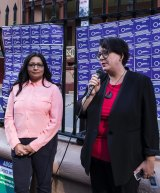 Mehreen Faruqi and Penny Sharpe campaign for abortion law reform outside NSW Parliament.